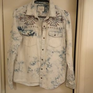 💢SOLD💢Acid Wash w/Aztec Print Shirt-Size Med